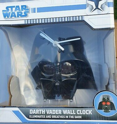£5 • Buy Star Wars Darth Vader Helmet Wall Clock | 3D Light + Sound Effects | Collectible