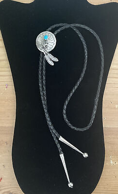 £80 • Buy Vintage Native American Sterling Silver Eagle Feather Turquoise Bolo Tie