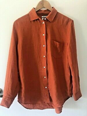 AU20 • Buy Country Road | Organically Grown Linen Shirt | Size 8 | Rust, Orange