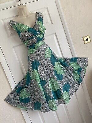 AU9.42 • Buy PRETTY MONSOON SIZE 8/10 BALI GREEN FERNS FIT & FLARE 50's STYLE OCCASION DRESS