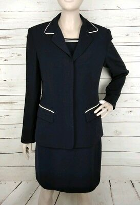 £34.55 • Buy Vintage Anne Klein II Navy And White Piping Shift Dress And Coat Suit Size 4