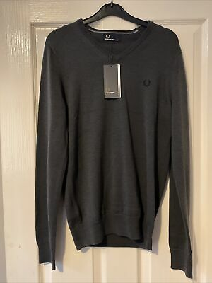 £12.50 • Buy Fred Perry V Neck Grey Jumper Mens XS BNWT