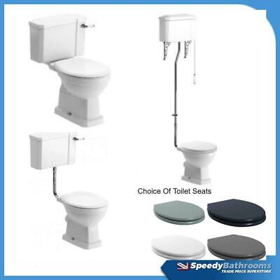 £229.95 • Buy Traditional Close Coupled Toilet Low High Level Pan Cistern Ceramic Oak White WC