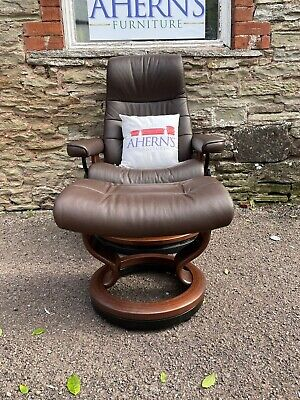£700 • Buy Brown Leather Ekornes Stressless Chair And Stool FREE DELIVERY 🚚