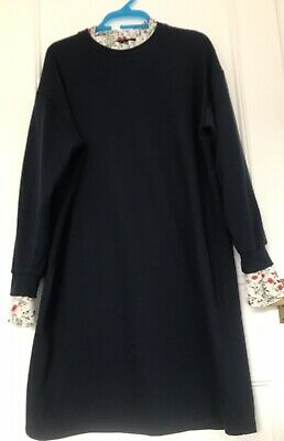 £12 • Buy Yuki Topshop Concession Navy Dress With Floral Inserts Fake Blouse 8 10 12 NEW