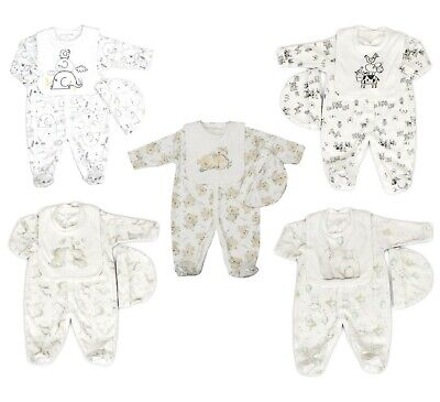 £11.45 • Buy Baby Boy Girl Clothes Layette Gift Set Neutral Sleepsuit Hat Bib Starter Outfit