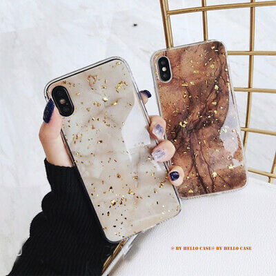 AU9.99 • Buy Golden Marble Glitter TPU Case Cover For IPhone 11 12 Pro Max Xs XR Plus 7 8