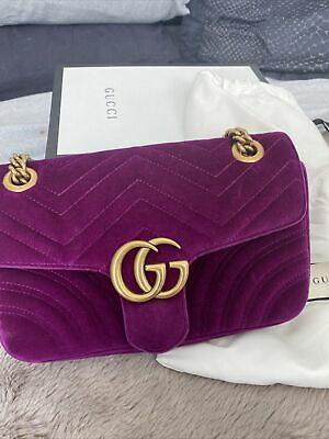 AU2200 • Buy Gucci Marmont Small Pink Velvet - With Receipt