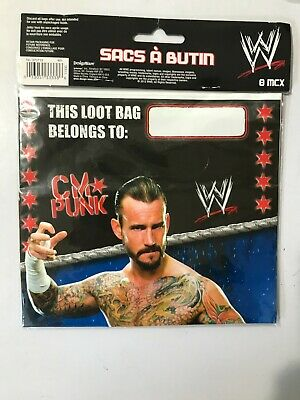 £6.50 • Buy 2012 Wwe Wrestling  Birthday Party Loot Bags 8 Pack With Cm Punk