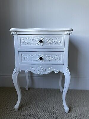 £65 • Buy Antique Elegant Chateau White French Style Bedside Table