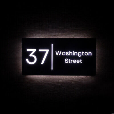 £165 • Buy LED House Number Sign Illuminated Black Metal Plaque 40 X 20cm