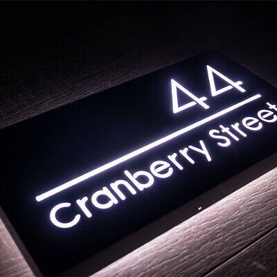 £125 • Buy Illuminated LED House Number Sign Black Metal Plaque 30 X 15cm