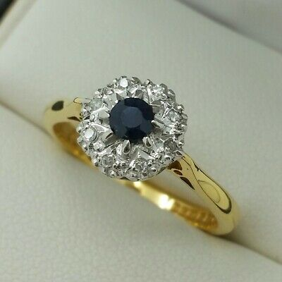 AU649.06 • Buy 18ct Yellow Gold Sapphire & Diamond Set Cluster Ring, Finger Size N 1/2