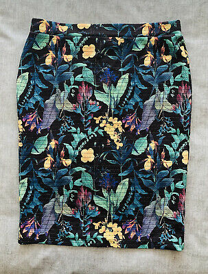 £18.99 • Buy NEXT Black Tropical Print Stretch Bodycon Pencil Skirt Size 16 Great Condition