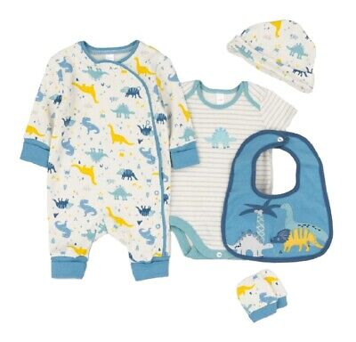 £16.45 • Buy Baby Boys Layette Clothing Set Organic Cotton Dinosaur Extendable Starter Outfit
