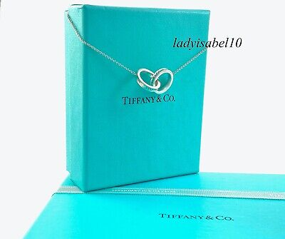 £166.32 • Buy Tiffany & Co 16  1837 Interlocking Double Circle Ring Necklace Silver Pouch 218A