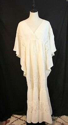AU69.95 • Buy No Label ~ Natural Cotton 70's Look Batwing Lace Boho Gypsy Maxi Long Dress 12