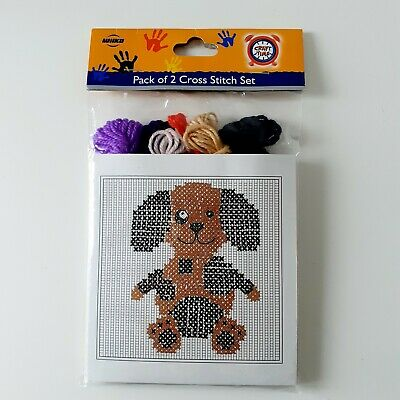 £4.50 • Buy 2 Kits Tapestry Cross Stitch Dog And Cat, Children Kids Sewing Craft, Embroidery