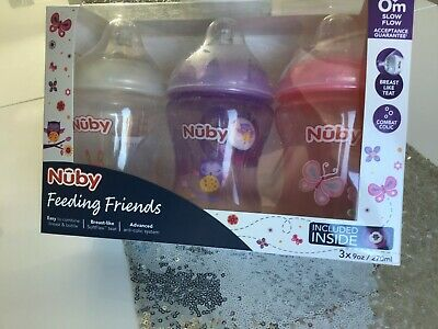 £10.99 • Buy 3 Pack NUBY Feeding Friends Designed Bottles 270ml WITH DUMMY Pink