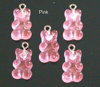 £2.99 • Buy 20 Pink Resin Gummy Teddy Bear Imitation Jelly Charm Pendant CLEAROUT