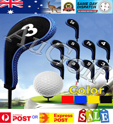 AU12.90 • Buy Set Of 10 Golf Club Iron Head Covers - 3 Colours - Long Neck With Zip