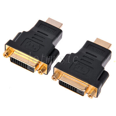 AU17.59 • Buy 2*DVI 24+1 (DVI-D) Female To HDMI Male Adapter Converter,Gold Plated