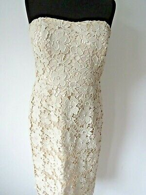 £24.99 • Buy MONSOON Ladies Beautiful Ivory Beige Lace Overlay Occasion Dress Size 12