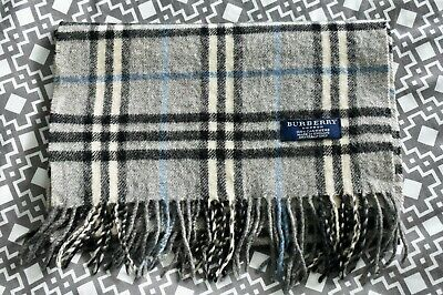 £40 • Buy BURBERRY London 100% Cashmere Grey & Blue Check Scarf Made In England 68  Long