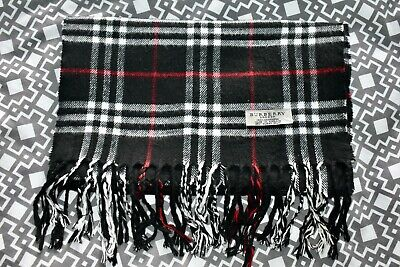 £25 • Buy BURBERRY London 100% Cashmere Black Check Scarf Made In England 66  Long