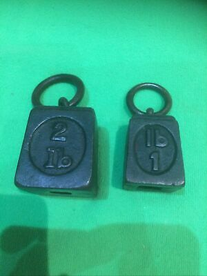 £12.99 • Buy 2 Vintage Antique Cast Iron Ring Top Weight 1Lb 2Lb Scale Weight Paperweight