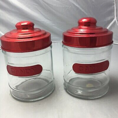 £29.04 • Buy Red Glass Candy Jar Set Of 2 Lid Clear Decoration Candy Buffet Events Canister