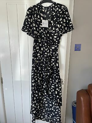 £14.99 • Buy Missguided Size 8 Black Floral High Low Dress BNWT