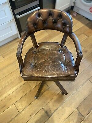 £41 • Buy Antique Brown Leather Swivel Captain's Chair