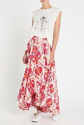 AU160 • Buy Sass & Bide All Together Now Red Gold Pink Print Silk Long Maxi Wrap Skirt M 14