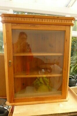 £5 • Buy Pine Corner Wall Unit With Glass Door - COLLECTION ITEM