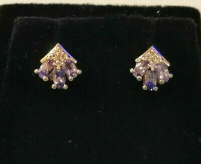 £5.50 • Buy Sterling Silver Diamond And Tanzanite Cluster Earrings