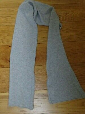 £15 • Buy Pale Grey 100% Pure Cashmere Knitted Scarf VGC  26 Cms  X  184 Cms