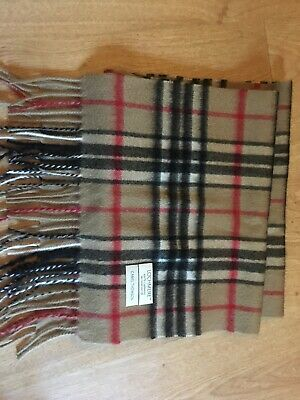 £20 • Buy Lochmere Cashmere Scarf Camel Red Black Burberry Check NWOT RRP £45