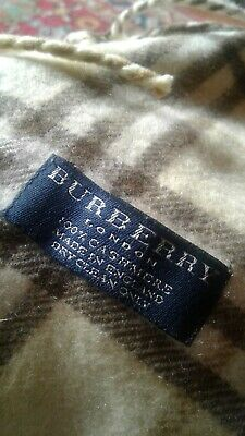£18 • Buy Genuine Burberry 100% Cashmere Yellow Check Scarf With Fringing Either Side