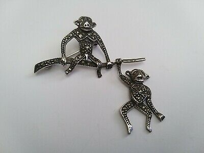 £28 • Buy Vintage Art Deco Silver And Marcasite Brooch In The Form Of Two Monkeys
