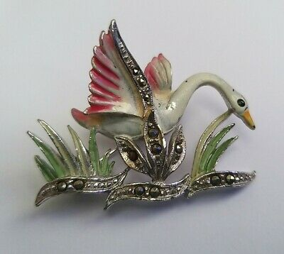 £1.20 • Buy Vintage Enamel And Marcasite Brooch In The Form Of A Swan