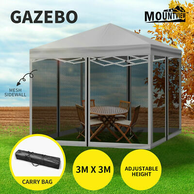 AU138.99 • Buy Mountview Gazebo Pop Up Marquee Outdoor Canopy 3x3m Wedding Tent Mesh Side Wall