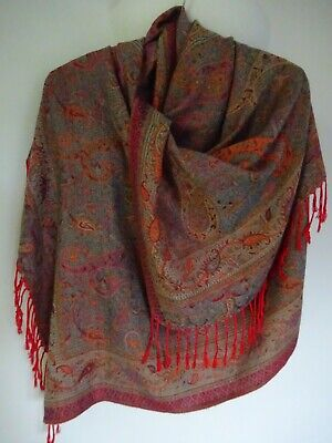 £20 • Buy 100% Pure Cashmere Woven Scarf Shawl Wrap Paisley Design Chic Lagenlook Arty