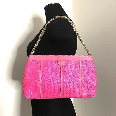 AU39.95 • Buy Authentic Kate Spade Pink Woven Straw Leather Gold Chain Shoulder Purse Bag