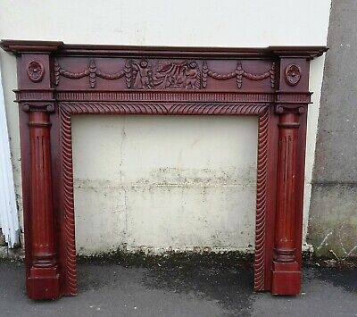 £60 • Buy Mahogany Reproduction  59  Mantle Hand Carved Fire Surround