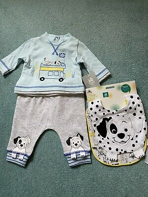 £3 • Buy *NEW* Disney Baby BOYS 2 Piece Set With Matching Bibs, Age Size 0-3 Months.