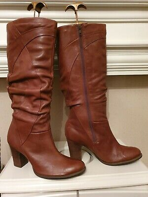 £10.40 • Buy Clarks Tan Leather Rushed Wide Leg Heeled Knee High Boots Size Uk 7 Vgc