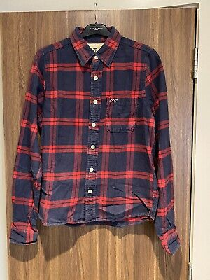 £5 • Buy Hollister Men's Checked Long Sleeve Shirt, Navy & Red. Size L