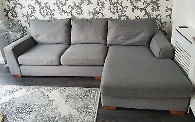 £359 • Buy Next Grey Fabric 3 Seater Corner Chaise Lounge L Sofa Foot Rest Suite 260 X 170