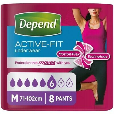 £10.92 • Buy Depend Active-Fit Underwear Pants For Women - Medium - Pack Of 8 - Disposable